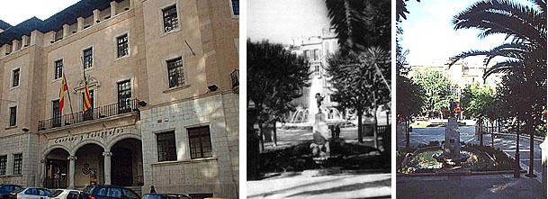 Das Telegrafenamt l., das Pilars Bügeleisen verweigerte (wenn die Geschichte stimmt)..., r. die Placa de la Reina damals und heute